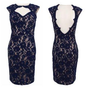 💕Xscape Open Back Navy/Nude Lace Bodycon Dress S6